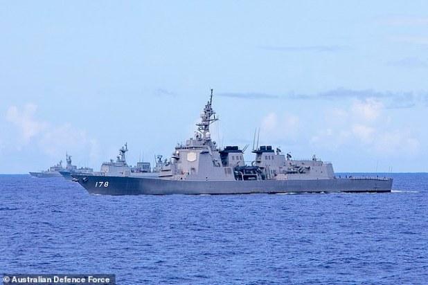 (LR) HMAS Stuart, Chungmugong Yi Sunsin of Korea and Ashigara of Japan featured on Tuesday 8 September before the start of Exercise Pacific Vanguard.
