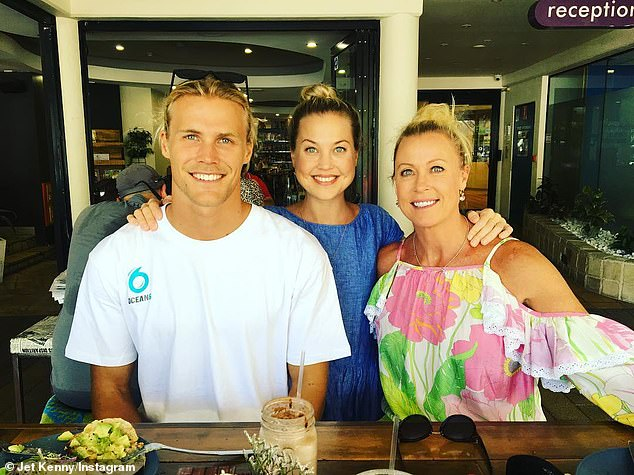 Jaimi (centre) is survived by her Ironman father, former pro swimmer mother (right), brother Jett (left) and sister Morgan
