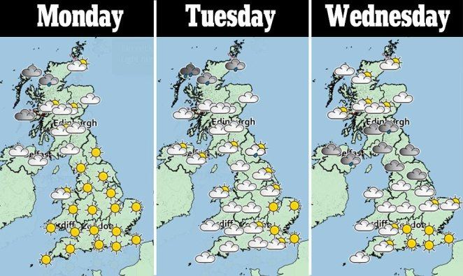 The south east of the UK looks to be set for glorious sunshine for the next week, while the north is predicted rain