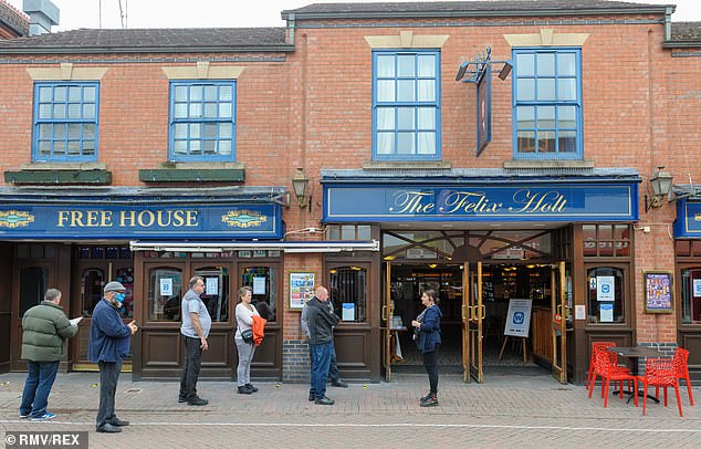 Wetherspoons has revealed that 66 workers across 50 of its pubs have tested positive for coronavirus but insists they are still safe to visit. Pictured is the Felix Holt in Nuneaton