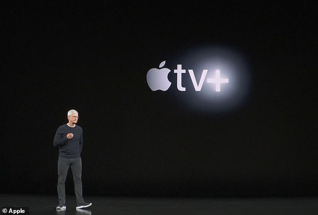 Apple One bundles will include music, gaming, cloud storage and other Apple services in a range of combinations and price tiers, as a rival to Amazon Prime. Pictured, Apple CEO Tim Cook announcing the Apple TV+ last year, which would be included in Apple One