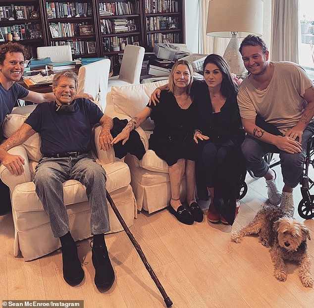 Family: Ryan O'Neal (second left) was reunited with his once-estranged daughter Tatum (centre) and her three children on Sunday, as they posed for their first family picture in 17 years
