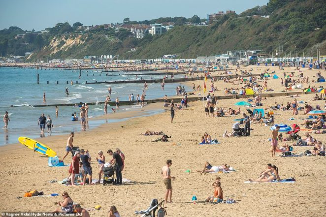 There were similar scenes along Bournemouth's seafront, as Brits made the most of the unseasonable September sun
