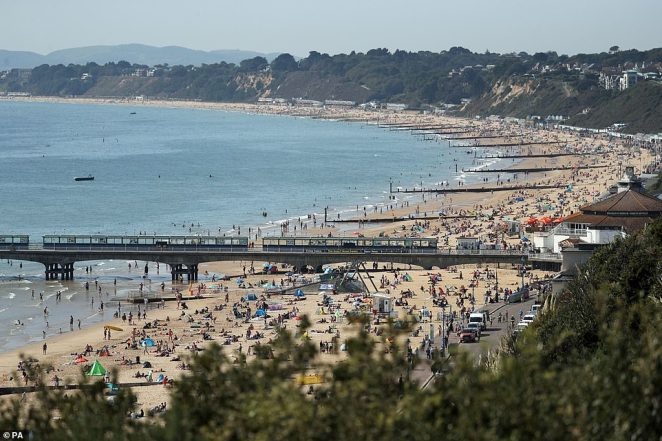 By lunchtime today crowds had filled most of Bournemouth beach, but there was still room to adhere to two-metre distancing
