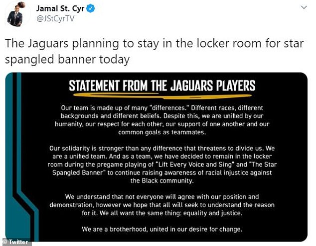 The Jaguars decided against standing for The Star-Spangled Banner and Lift Every Voice and Sing on Sunday, saying they are focused on 'equality and justice'