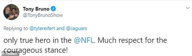 Sports radio host Tony Bruno called Eifert the 'only true hero in the @NFL' for honoring Dorn