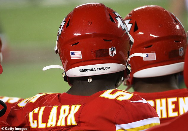 Frank Clark #55 of the Kansas City Chiefs wears Breonna Taylor on the back of his helmet during the fourth quarter against the Houston Texans at Arrowhead Stadium on Thursday