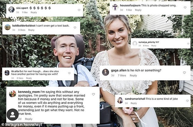 Rude! Some commenters left cruel comments on their photos, saying that Hannah must have married him for money and that their marriage was a 'joke'