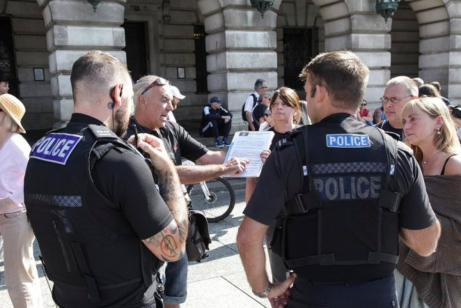 Police attempted to remonstrate with the protesters but their advice and warnings appeared to fall on deaf ears