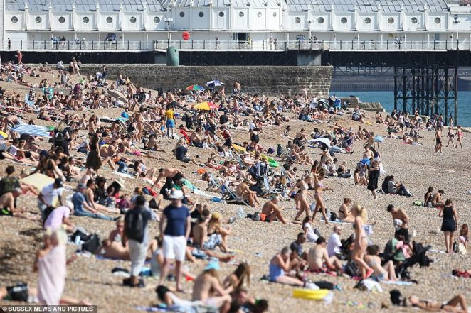 Brighton beach looked very busy with groups larger than six seen sitting near the seashore on the sunny day