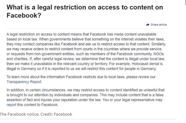 It is not known when the two-man protest happened but it may have been Saturday's 'Melbourne Freedom Walk' planned for the Tan track which was censored by Facebook (pictured: the censorship notice)