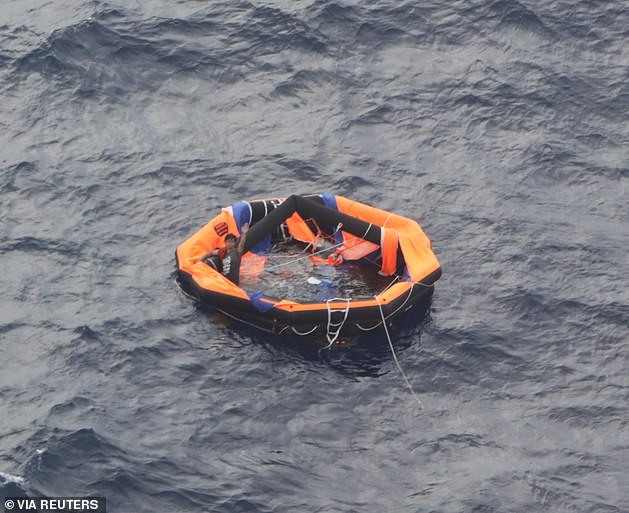 Japan's coast guard rescued a second survivor on Friday (pictured) after rescuing the first survivor on the same night the ship was lost