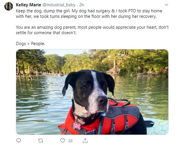 Agreement: Others admitted that they have gladly put their dogs before anyone and anything else in their lives, with one person sharing their own sweet story about caring for a pup