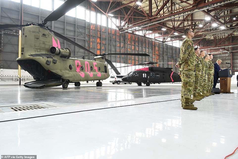 Airpower: The seven members of the National Guard were awarded the Distinguished Flying Cross in front of (left) a CH-47 Chinook and (right) a UH-60 Black Hawk