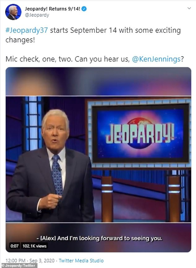 The Twitter account for Jeopardy! revealed a promotional video and announced Ken Jennings' new role earlier this month