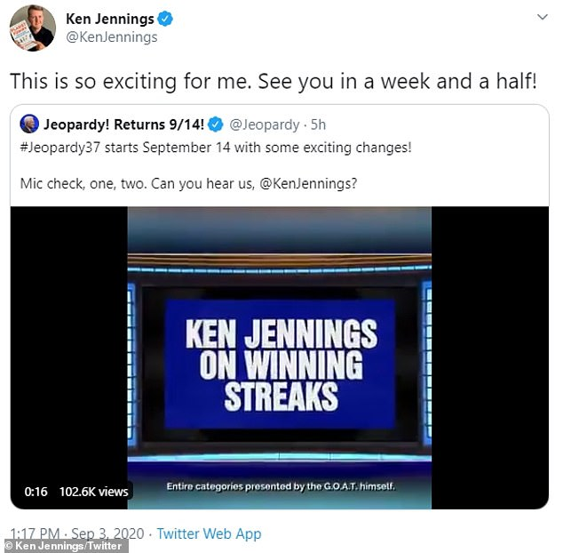 He's back: Jennings is returning as a consulting producer andwill be presenting video categories and working with writers on clues and will also be involved with casting which is now virtual