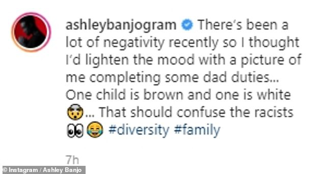 'That should confuse the racists': On Monday, dancer Ashley, 31, shared a snap of his kids Rose, 18 months, and Micah, five months, and highlighted 'one child is brown and one is white'