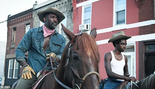 Back in the saddle: Elba stars in the concrete cowboy, about the father of a troubled teen who lives an 'urban cowboy' lifestyle.  It has its world premiere in Toronto on Sunday night