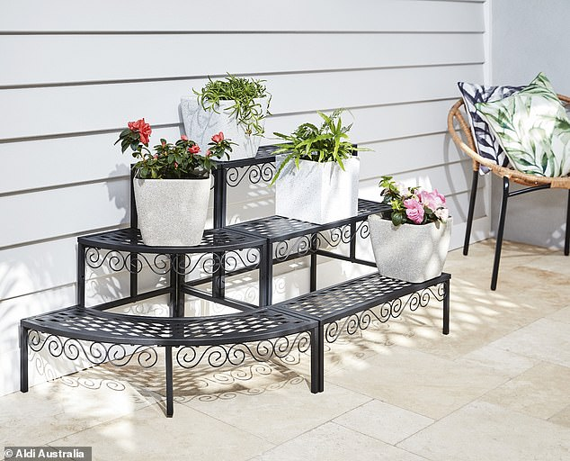 Plant lovers can create the ultimate lush jungle on their patio or backyard with the $39.99 'straight or corner' flower steps