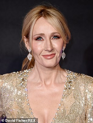 JK Rowling (pictured) is embroiled in yet another trans row after it was revealed that the villain in her latest book Troubled Blood is a male serial killer who dresses as a woman to slay his victims