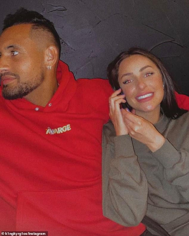 Kyrgios (pictured with his girlfriend) said he was unsure when his next tournament will be