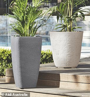 $29.99 garden stone pots with water reservoir