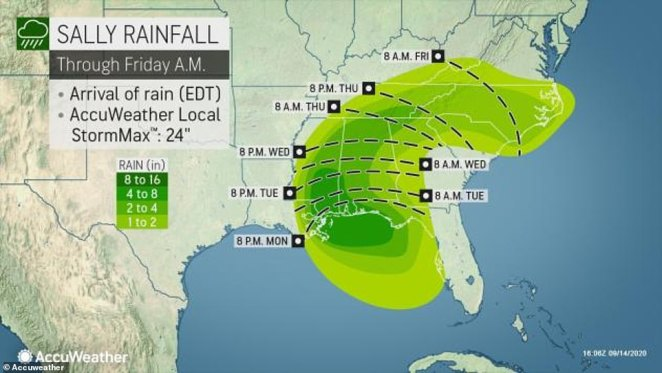 The category 2 storm was on a track to brush by the southeastern tip of Louisiana and then blow ashore late Tuesday or early Wednesday near the Mississippi-Alabama state line