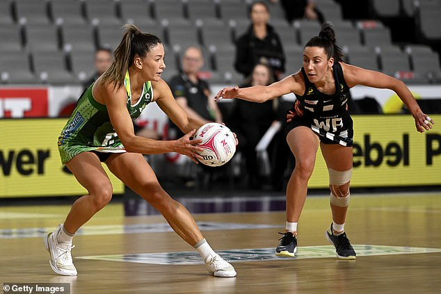 West Coast Fever midcourter Verity Charles, 29, was with her fellow teammates in Brisbane on Saturday night when she was targeted by four women (pictured at a match against the Magpies on August 25)