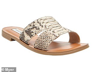 Summery flats are included in the reductions, with Steve Madden snakeskin mules now $60
