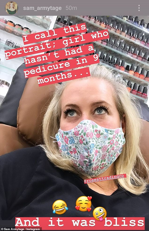 'It was bliss': Sunrise's Sam Armytage revealed on Tuesday that she was visiting the nail salon to get her first pedicure in nine months