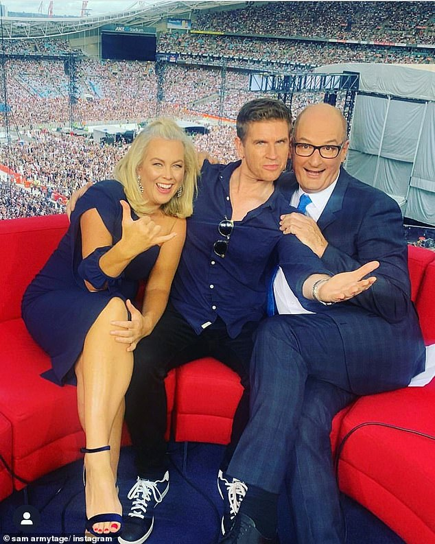 Red pedi: Samantha didn't reveal the state of her feet, but wrote: 'I call this portrait; girl who hasn't had a pedicure in nine months...' She last she showed off her red pedicure in February in this photo with weatherman Sam Mac (centre) and co-host David 'Kochie' Koch (right)