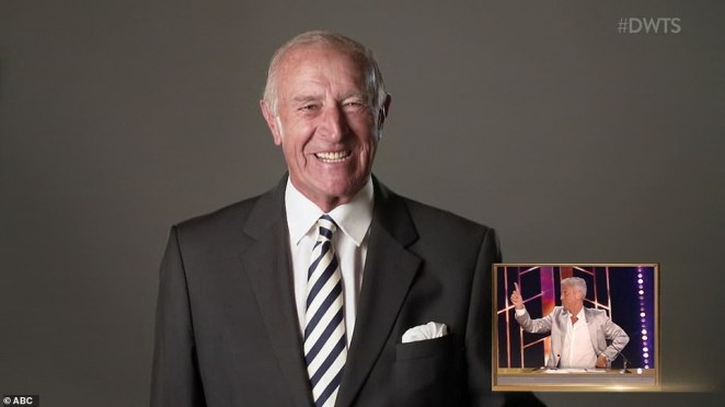 Video message: Len Goodman made an appearance via video and said he would be keeping an eye on the dancers during the season before giving Banks a '10'