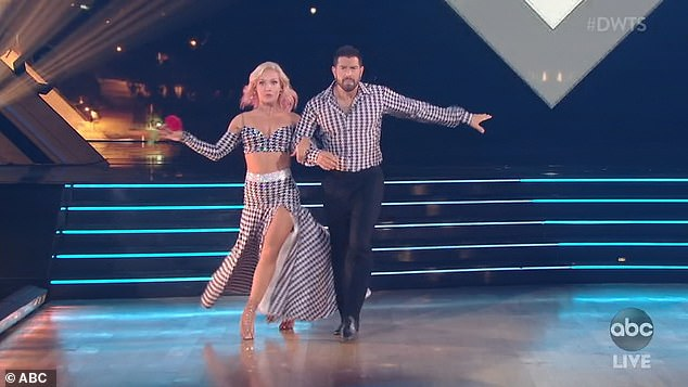 Focused: Jesse Metcalfe, 41, and pro partner Sharna Burgess performed a quickstep that Hough called a 'great first dance'