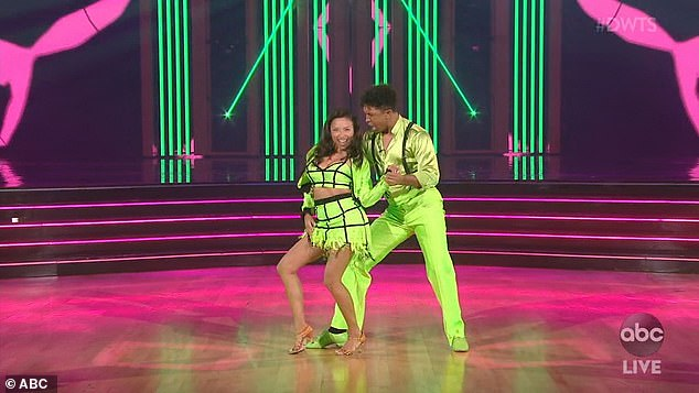 Neon: Jeannie Mae, 41, and pro partner Brandon Armstrong in neon green outfits performed a salsa that earned 18 points from the judges