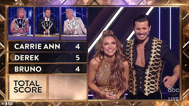 Bottom of the pack: Chrishell scored a 13, which only put her ahead of Charles Oakley's 12 and Carole Baskin's 11. Newcomer Derek Hough was the most enthusiastic of the judges