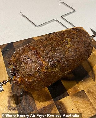 The woman, from Melbourne, used a combination of lamb and beef mince, herbs and spices, onion, garlic, salt and pepper, bread crumbs and an egg to make her own rotisserie-style donor kebabs