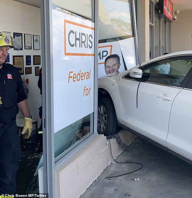 An SUV has careered into Labor MP Chris Bowen's electorate office in Fairfield West in western Sydney