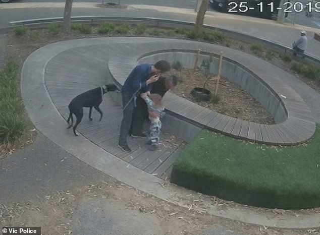 Rawson grabs the child and his father desperately wrestles with him to prevent the toddler being taken away