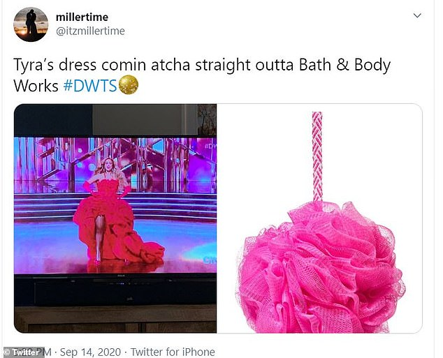 Familiar: Many compared Bank's scene stealing ensemble that she wore for her grand entrance to a 'Bath & Body Works' luffa