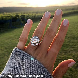 Sparkler: Binky revealed her stunning ring had been designed by Max and her friend