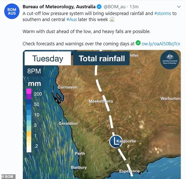 A Bureau of Meteorology map shows the path of a cut-off low pressure system that will bring rainfall this week as it barrels from the country's south west across to the east