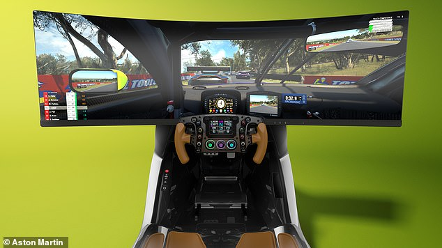 The steering wheel is a cutaway design similar to an F1 wheel. It has an explosion of control switches and buttons and a digital display to show the rev counter, gear selection and split times