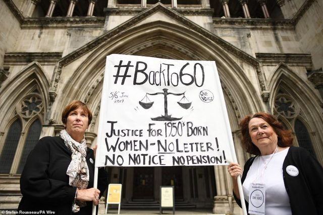 Demonstration: Anne Taylor (left) and Patsy Franklin from the BackTo60 campaign outside the Royal Courts of Justice in central London, at the start of the legal case in June 2019
