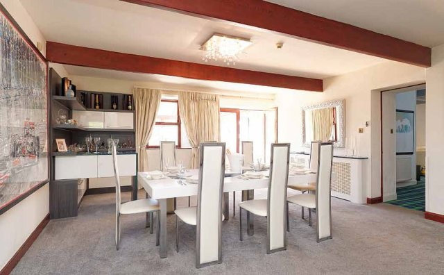 Let me entertain you:Elsewhere a tasteful dining room seats eight, giving Capaldi an invaluable opportunity to invite friends and family to dinner, should he so wish