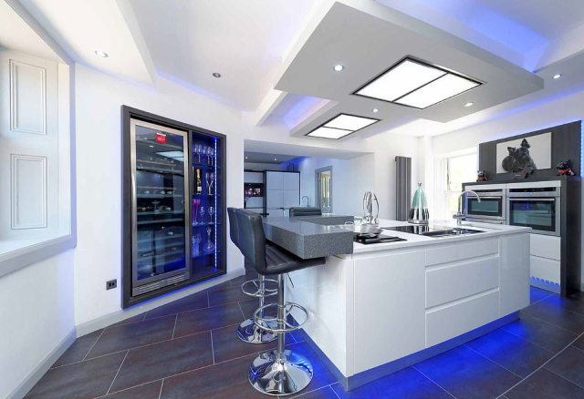 Let's eat:Inside a gleaming kitchen gives its new owner the option to prepare healthy meals during rare nights away from the road, with highly polished surfaces and the very latest in modern technology at his disposal