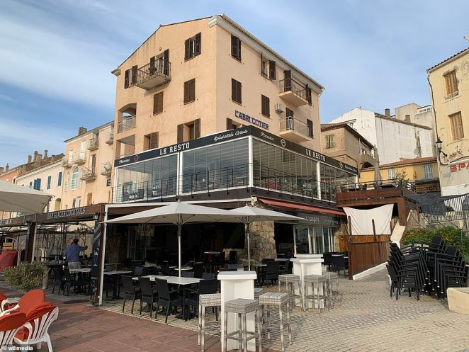 Pictured: This is the harbour side bar in Corsica where Conor McGregor allegedly exposed his manhood to a young married woman and sexually assaulted her. The bar sits below a restaurant called Le Resto