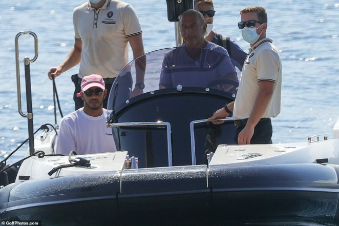 Heading off: Lewis Hamilton has become known as one of the 'wokest' drivers in Formula One, while his good pal Philip Green is well-known for his controversies and scandals, yet they maintain a friendship and were seen together on Monday on the latter's yacht
