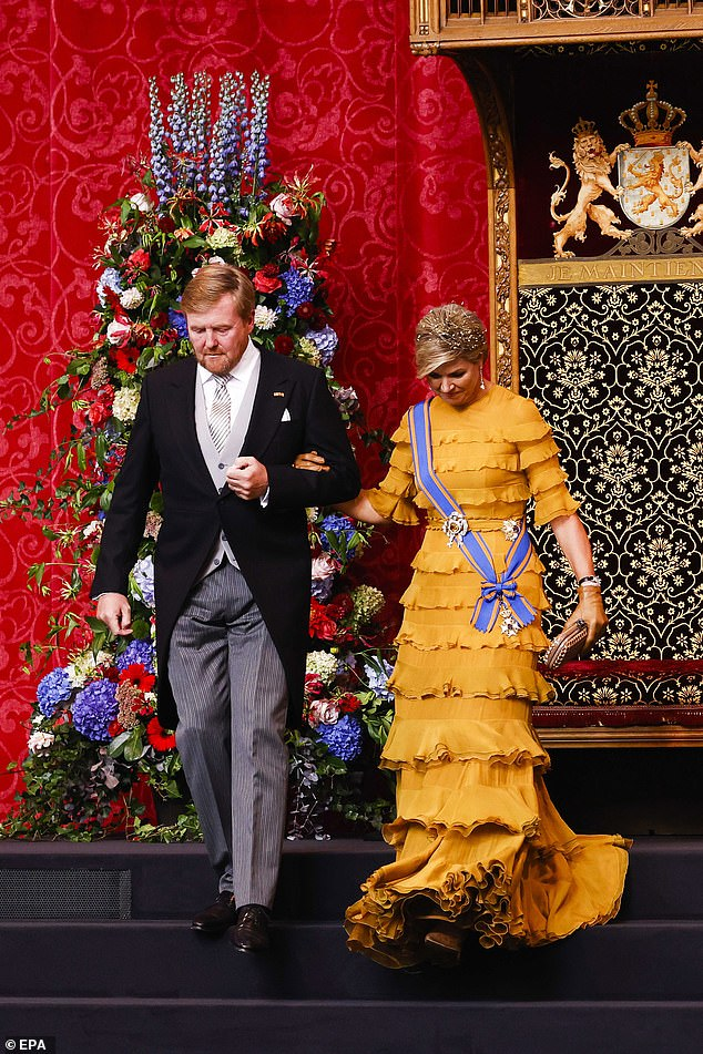 The top-to-toe ruffles on the Queen's gown billowed beautifully as she walked down the steps from the throne after King Willem-Alexander had delivered his speech