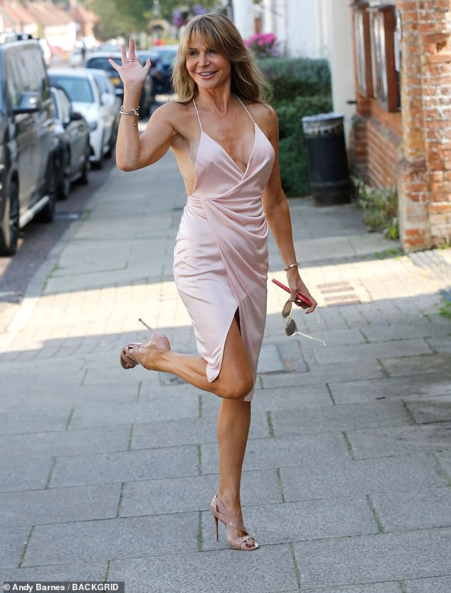 Radiant:The media personality, 52, caught the eye for all the right reasons as she stunned in a chic wrap dress, complete with a plunging neckline