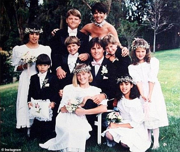 The second time: And the 64-year-old star was wed to Bruce Jenner from 1991 until 2015; seen at their wedding with Kim, Kourtney and Khloe in attendance